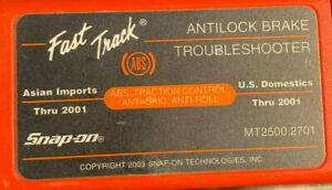 Snap On Mt2500 2701 Thru 2001 Domestic And Asian Abs Troubleshoot Cartidge