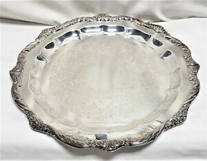1847 Rogers Bros 17 Heritage Round Silver Plate Serving Tray Platter 9473 Is