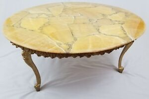 Vintage French Louis Xvi Gesso Marble Slate Top Coffee Table Baroque Mid Century