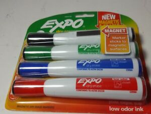 Expo Magnetic Dry Erase Markers With Eraser Chisel Tip Assorted 4 count
