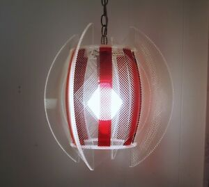 Vtg 1960s Lucite String Red Hanging Lamp Atomic Mcm Light Fixture 2 Available