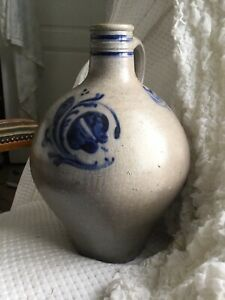 Lg Antique French Stoneware Cobalt Blue Alsace 1800 S Salt Glaze Jug Wine Water