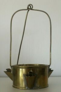 Antique Brass Grease Fat Oil Betty Lamp
