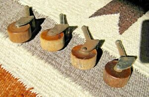 Set Of 4 Antique Wooden Casters Table Furniture Wheels 1 1 8 Dia 1 4 Shank