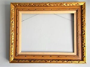 Vintage Modernist Design All Wood Carved Gilt Frame 26 By 32 Large Frame