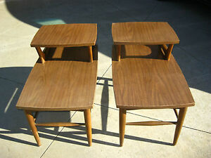 Pair Of Vintage Danish Style End Tables By Holman Manufacturing Co Walnut