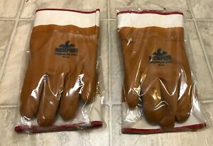 2 Lot Memphis Premium Pvc 6710t Foam Lined Work Gloves Safety Cuff Large
