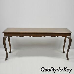 Vintage Walnut 60 Long Queen Anne Style Sofa Console Hall Table