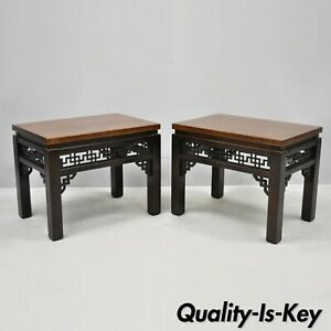 Pair Of Chinoiserie Carved Fretwork Wooden Low Side Tables Stools By Gordons Inc