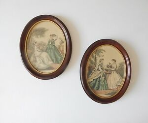 Vintage Oval Solid Wood Decorative Wall Hangings Quantity Of 2 Beautiful