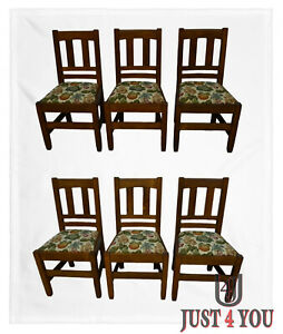 Antique Stickley Brothers Mission Oak Set Of 6 Dining Chairs