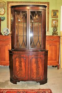 English Mahogany Display Corner Cabinet With Built In Lights And Mirrored Back