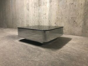 Chrome Smoked Glass Floating Coffee Table Maybe Brueton Uira Grayboff 1970s Mcm