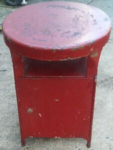 The Best Old Vintage Metal Stool With Storage Perfect Chippy Time Worn Patina