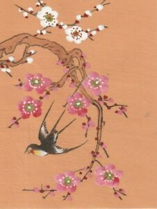 Hand Painted Ink Gauche Japanese Miniture Painting W Bird On Rice Paper C1930s