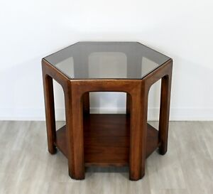 Mid Century Modern Lane Walnut Smoked Glass Hexagonal Side End Table 1960s