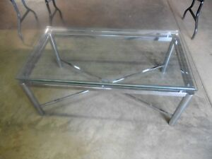 Vintage Mid Century Modern Chrome Floating Glass Top Coffee Table