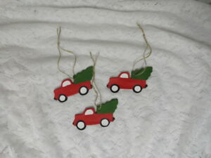 3 Primitive Little Red Truck Ornaments Bowl Fillers Christmas Country Handmade