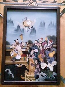 Eight Immortals Chinese Reverse Glass Painting Vintage Antique