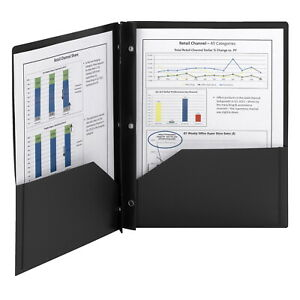 Smead Poly Folder With Prongs 2 pocket With Prongs Black Pack Of 25