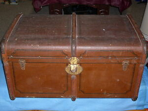 Unique Travel Steamer Trunk Norddeutscher Lloyd Rwy Express Wells Fargo Tags