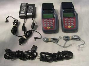 Lot Of 2 Verifone Vx510 Credit Card Printer Terminal W power Supplies Free Ship
