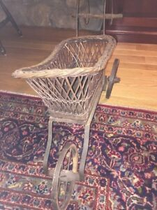 Vintage Wicker Wood Baby Doll Carriage Buggy Pram Stroller Unique 3 Wheeler