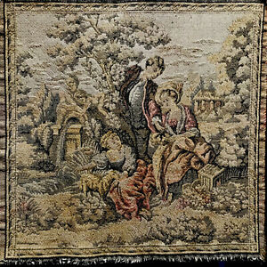 Antique Victorian Scene Tapestry 10 X10 France Excellent Condition Very Old