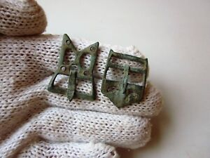 Lot Of 2 Ancient Authentic Roman Bronze Military Belt Buckles Buckles 2 3ad