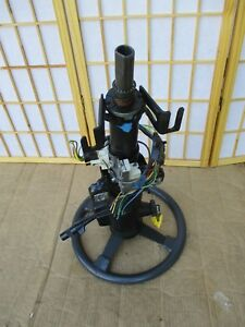84 88 Pontiac Fiero Oem Black Gray Steering Wheel Column W Ignition And Key
