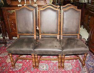 Set Of 6 French Antique Oak Louis Xiii Dining Room Chairs With New Upholstery