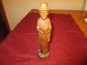 Vintage Man Dog Figure Hand Carved Wood 8 5 Tall From Ecuador Very Nice Piece