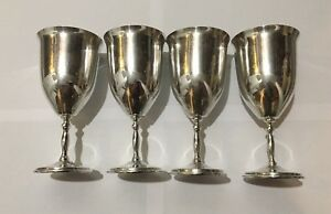 Vintage Set Of 4 Large Sterling Silver Water Goblets 6 3 4 Tall 890 Gm Total