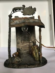 Rare Antique Austrian Cold Painted Bronze Bedouin Figures Table Lamp