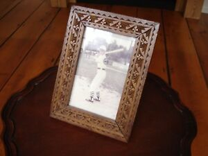 Antique Chip Carved Wood Table Top Picture Frame