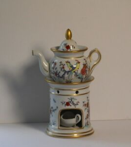 Vintage Porcelaine De Paris Veilluse French Porcelain Teapot On Stand