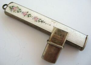 Antique Pencil Case Holder Guilloche Ename Sterling Chatelaine Roses Hallmarked