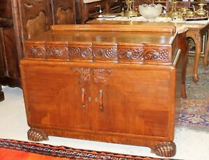 English Antique Oak Art Deco Sideboard Buffet Wine Bar Cabinet W Hidden Drawer