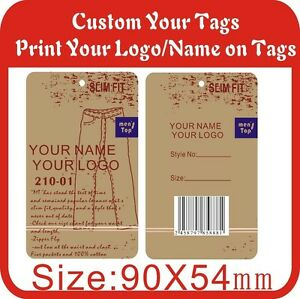 500pcs Custom Tags Print Your Logo On Tag 300gsm Paper Hang Tags garment Tags M5