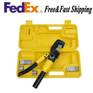 6 Ton Terminal Crimper Hydraulic Wire Battery Cable Lug Crimping Tool 8 Dies