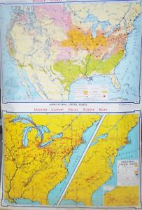 2 Roll Up School Maps Denoyer Agricultural U S Indutrial U S Ships Free