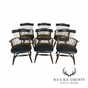 Duckloe Bros Set 6 Cherry Black Leather Captains Windsor Dining Chairs