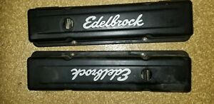 Edelbrock Signature Series Black Valve Covers 4443 Chevy Sbc 283 305 350 400