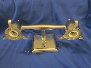 Vtg Chromed Wall Mount Double Light Fixture