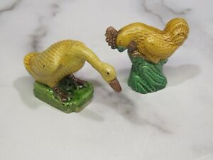 2 Antique Chinese Export Porcelain Geese Duck Rooster Yellow Figurines