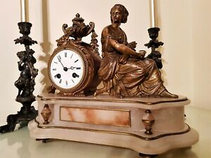 Antique French Ormolu And White Onyx Mantel Clock