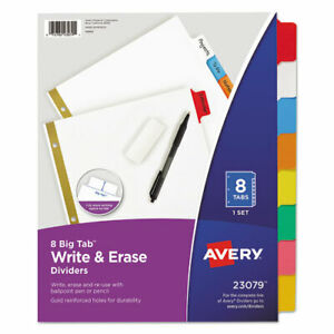 Write Erase Big Tab Paper Dividers 8 tab Multicolor Letter 25 Pack