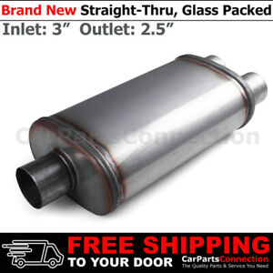 3 2 5 Inches Center In Dual Out Stainless Steel Straight Street Muffler 200615
