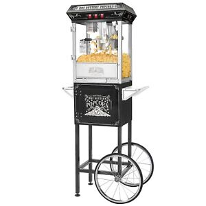 Great Northern Black Good Time 8oz Popcorn Popper Machine W Cart 8 Ounce