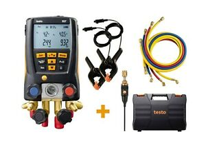 Testo 557 Refrigeration Digital Manifold Kit With 4 Hoses And Clamps 0563 2557